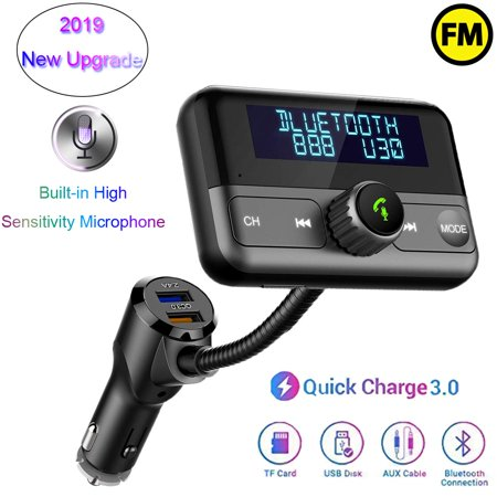 Radio Post - Car Bluetooth FM Transmitter - Siri Voice Function Hands-Free Car 4.2 Bluetooth Kit Wireless Radio Adapter QC3.0/2.4A Dual USB Ports LCD Display AUX TF Card U Disk Mp3 Player Car FM Transmitter