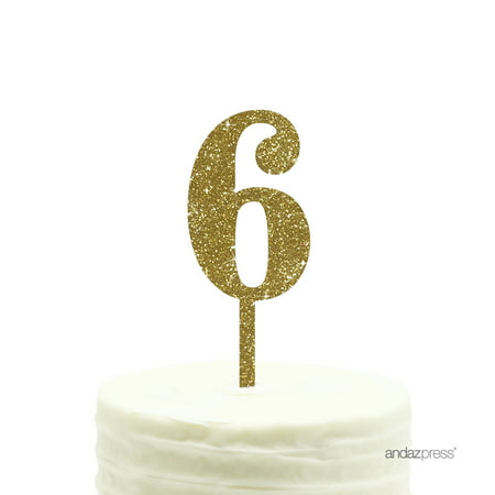 Gold Glitter Number 6 Acrylic Birthday Cake Topper