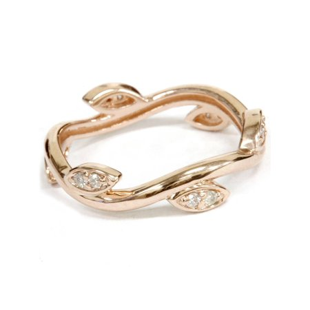1/8Ct Diamond Vine Vintage Antique Leaf Ring 14K Rose Gold Eternity Band Antique Vintage Wedding Bands