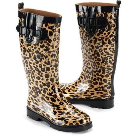 8a736eec7912 Women's Wild Leopard Rain Boots - Walmart.com