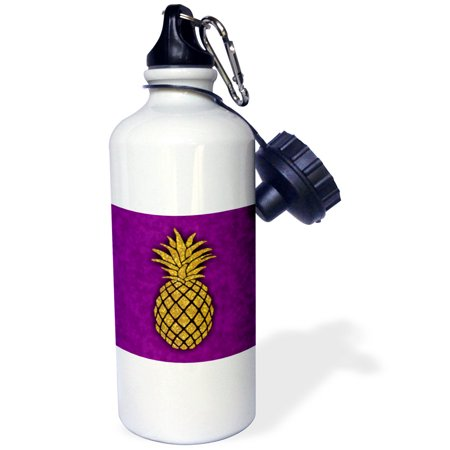 3Drose Photo Of Gold Glitter Pineapple On Purple Background Not Real Glitter  Sports Water Bottle  21Oz