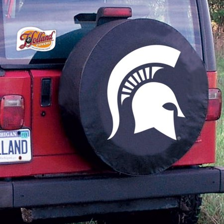 Michigan State Tire Cover with Spartans Logo on Black Vinyl Size: A - 34 x 8