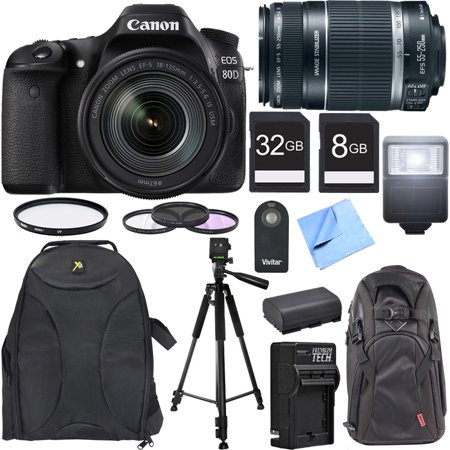 Canon EOS 80D CMOS DSLR Camera w/ EF-S 18-135mm Lens Photography Bundle includes Camera, Lenses, Backpack, Memory Cards, Tripod, Flash, 67mm Filter Kit, Battery Charger, Beach Camera Cloth and