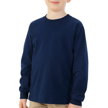 4c98ce584 Fruit of the Loom - Boys' Long Sleeve Crew T-Shirt with Rib Cuffs -  Walmart.com