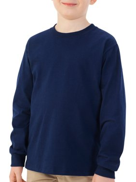 Product Image Fruit Of The Loom Boys Long Sleeve Crew T Shirt With Rib Cuffs