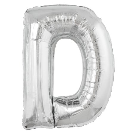 Foil Big Letter Balloon, D, 34 in, Silver, 1ct