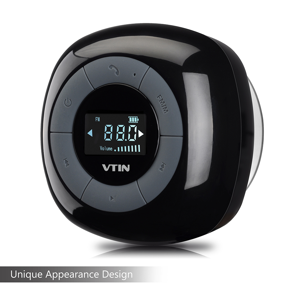 Vtin Relaxer Mini Water Resistant Portable Wireless Bluetooth 4.0 FM Radio Shower Speaker with LCD Display, Built in Mic and Suction Cup (Black)