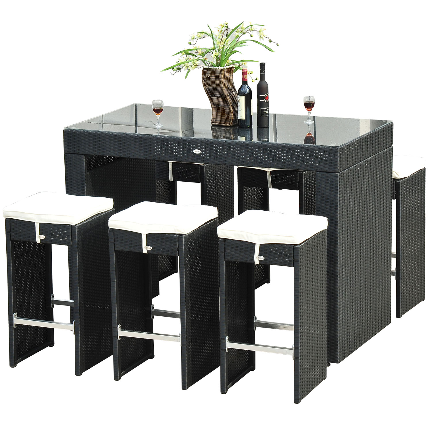 Outsunny 7 Piece Outdoor Rattan Wicker Bar Pub Table & Chairs Patio Dining Room Set Black by Aosom