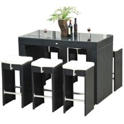 Outsunny 7 Piece Outdoor Rattan Wicker Bar Pub Table & Chairs Patio Dining Room Set Black by Pub Tables