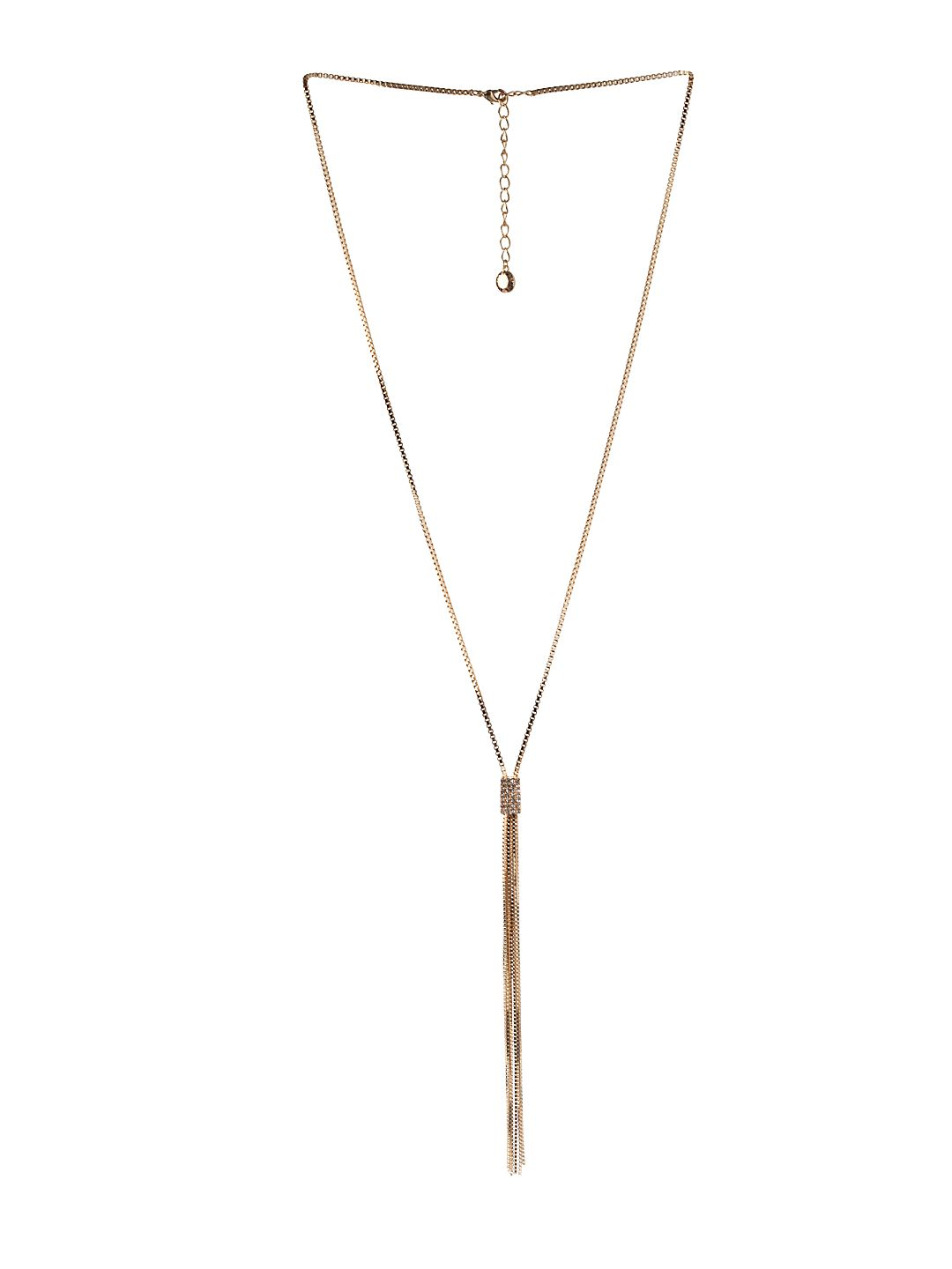 Cubic Zirconia Long Goldplated Necklace
