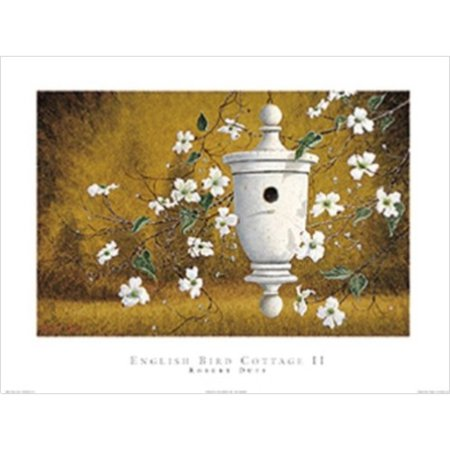 English Bird Cottage - English Bird Cottage II by Robert Duff 24x18 Art Print Poster White Bird Home Hanging from the Right with White Stem Flowers