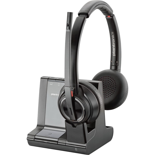 Savi W8220-M Wireless Bluetooth/DECT 6.0 32mm Stereo Headset - Over-the-head - Supra-aural - Black