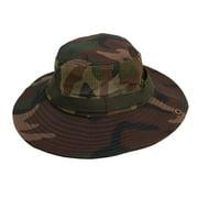Unique Bargains Lady Man Fishing Travelling Camouflage Pattern Full Brim Nylon Hat Cap