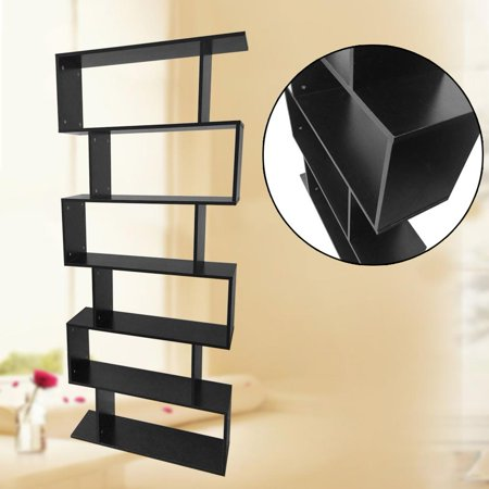 6-Tier Bookshelf 75.6  Tall Wooden Bookcase Ultra Modern Display Unit Gloss Shelf Cabinet Room Divider Furniture for Home and Office,6 Tier Bookcase, Gloss Cabinet