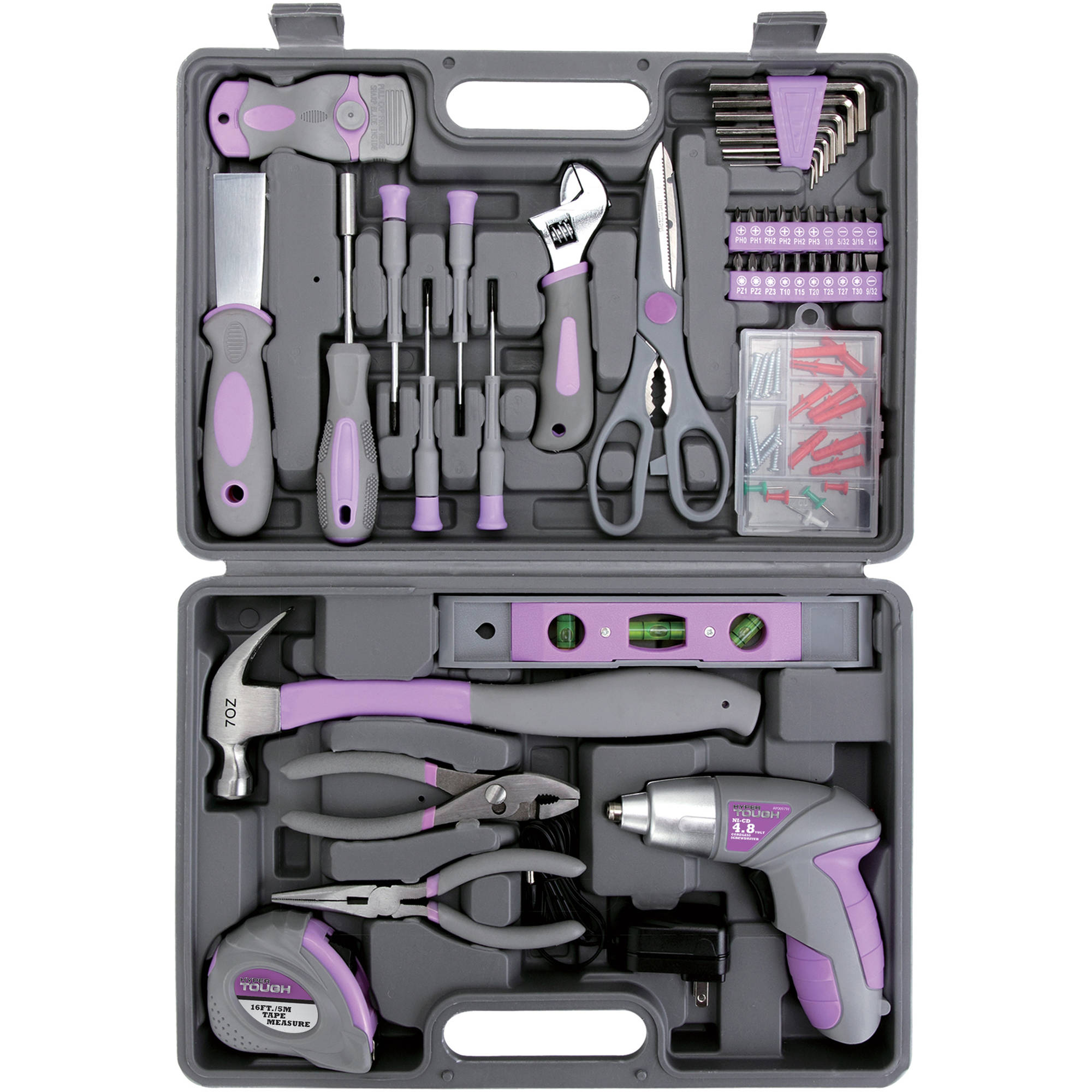 Hyper Tough UJ84133G 44-Piece Home Repair Tool Kit in Blow Mold Case