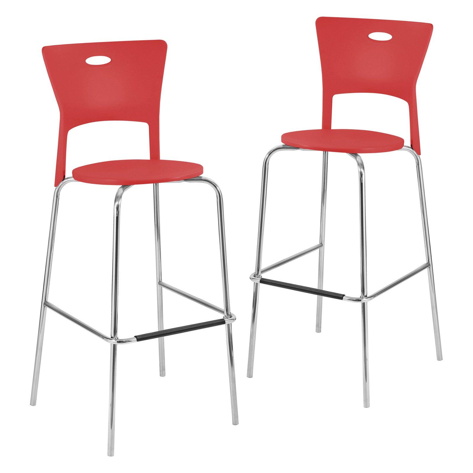 Lumisource Mimi Bar Stools - Red - Set of 2
