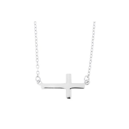 Beauniq Solid Sterling Silver Rhodium Plated Sideways Cross Pendant Necklace, 16
