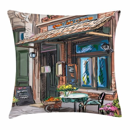 Halloween Themed Cafe (City Throw Pillow Cushion Cover, Street in Paris Cafe Illustration Holiday Theme Summer Season Eating Drinking Cartoon, Decorative Square Accent Pillow Case, 16 X 16 Inches, Multicolor, by)