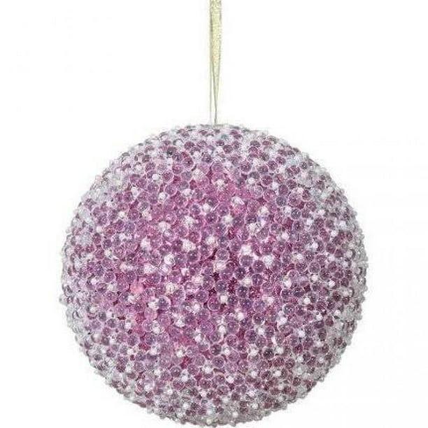 Vickerman 8 Rose Gold Acrylic Beaded Ball Christmas Ornament Walmart Com Walmart Com