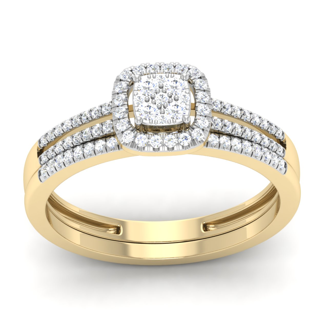 Trillion Designs 10K Yellow Gold 1 4Ct Round Cut Natural Diamond Cushion Frame Engagement Ring Set by Arina Jewelry