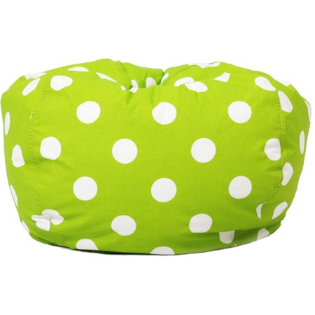 Classic Twill Bean Bag Chair Green With White Polka Dots