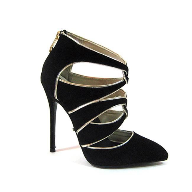 4.50 in. Micro Heel Ankle Pump, Black Suede Polyurethane - Size 11 - image 1 of 1