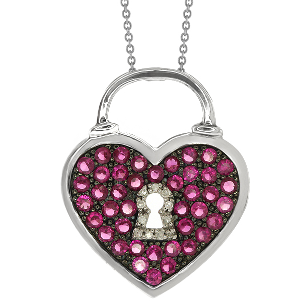 """18"""" Sterling Silver Created Ruby and Diamond Accent Heart..."""