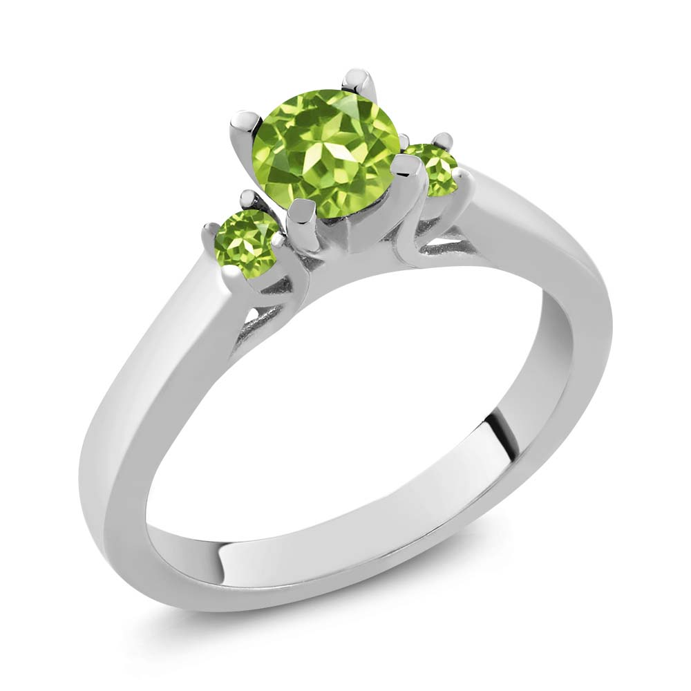 0.74 Ct Round Green VS Peridot 925 Sterling Silver Ring