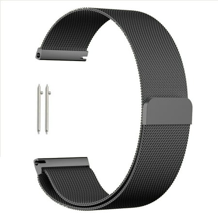 Milanese Band Replacement, Quick Release Stainless Steel Magnetic Clasp Wrist Bracelet Watch Band Strap For Men's Women's Watch (18mm-Black)
