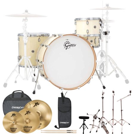 Gretsch Drums Rock Catalina Club 4 Piece Drum Shell Pro Pack with Sabian Performer Cymbal Set, ChromaCast Hardware and ChromaCast Accessories, White Chocolate (Box 2 of -