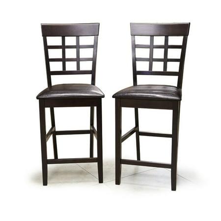 Interlocking Bar Chair Dark Brown Wood Bicast Leather (set of 2)