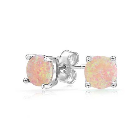 4 G Round Simulated Pink Opal Stud Earrings 925 Sterling Silver 6mm