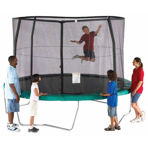 SKYBOUND 14' Enclosure Trampoline Net Using 4 Straight-Curved Poles