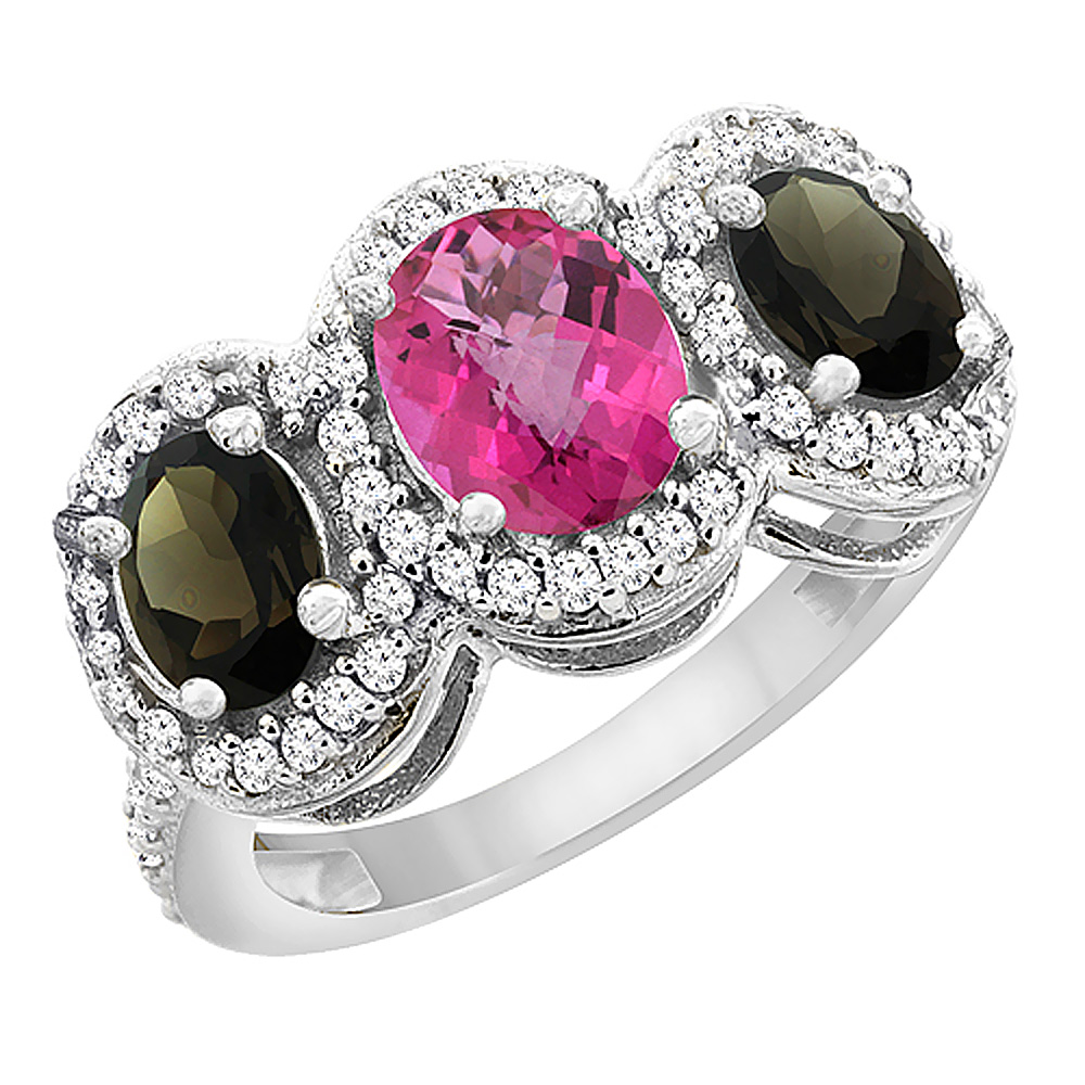 10K White Gold Natural Pink Topaz & Smoky Topaz 3-Stone Ring Oval Diamond Accent, size 5 by Gabriella Gold