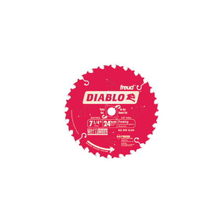 Diablo D0724A Circular Saw Blade, 7-1/4 in Dia, Carbide Cutting Edge, 5/8 in Arbor 10 Pack
