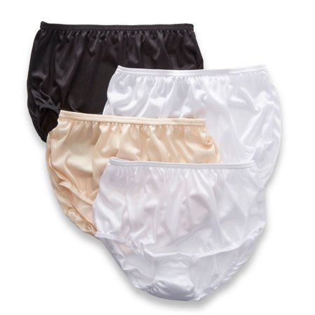 Women's Teri 331 Full Cut Nylon Brief Panty - 4 Pack