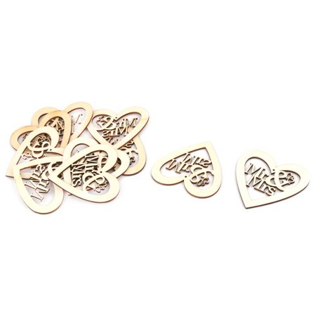 Festival Wooden Love Heart Shaped Hollow Out DIY Craft Wedding Decor Beige 10pcs - Wooden Hearts Crafts