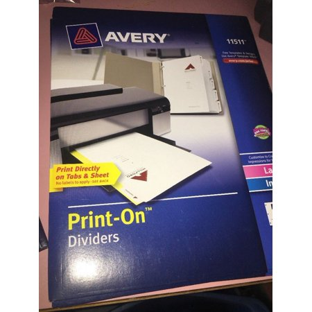 - Avery Laser / Inkjet White Print - On Dividers 5 Tabs 1 set 3 Hole Punched 11511