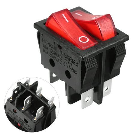 Double Rocker Switch - AC 250V 15A 125V 20A 6pin Red Light Double SPST On/Off Rocker Switch
