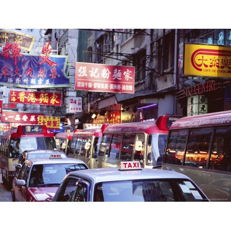 Taxis and Buses, Causeway Bay, Hong Kong Island, Hong Kong, China, Asia Print Wall Art By Amanda Hall ()