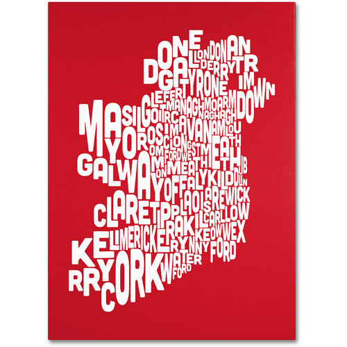 Trademark Art 'RED-Ireland Text Map' Canvas Art by Michael Tompsett