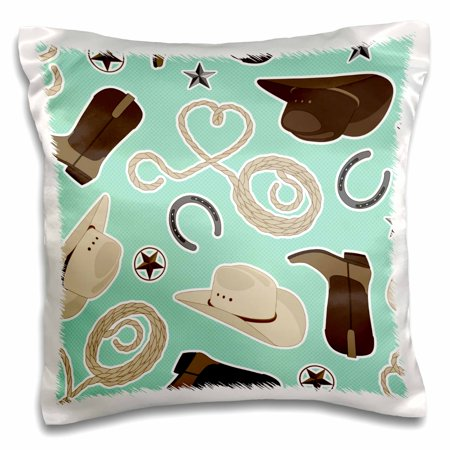 3dRose Cute Cowboy Theme Pattern Mint and Brown - Pillow Case, 16 by 16-inch