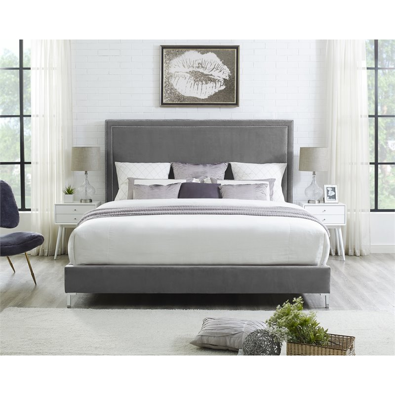 Tristan Grey Velvet Platform Bed Frame - Queen Size - Nailhead Trim