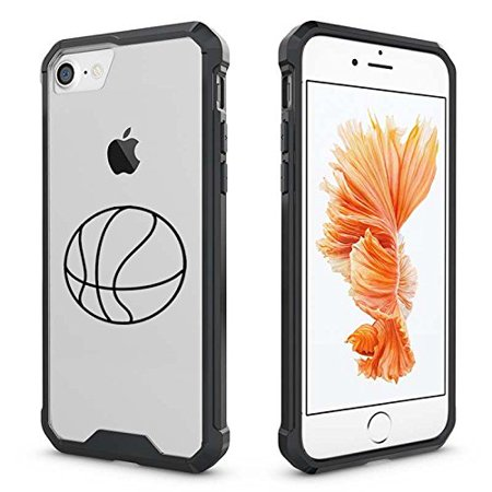 For Apple iPhone Clear Shockproof Bumper Case Hard Cover Basketball (Black for iPhone 6 Plus/6s Plus)