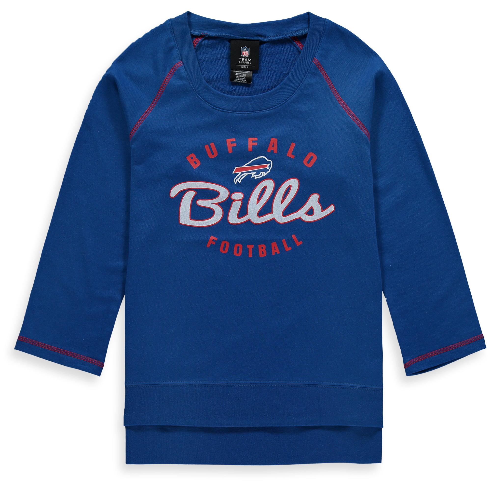 Buffalo Bills Girls Youth Overthrow 3/4-Sleeve Crew Sweatshirt - Royal