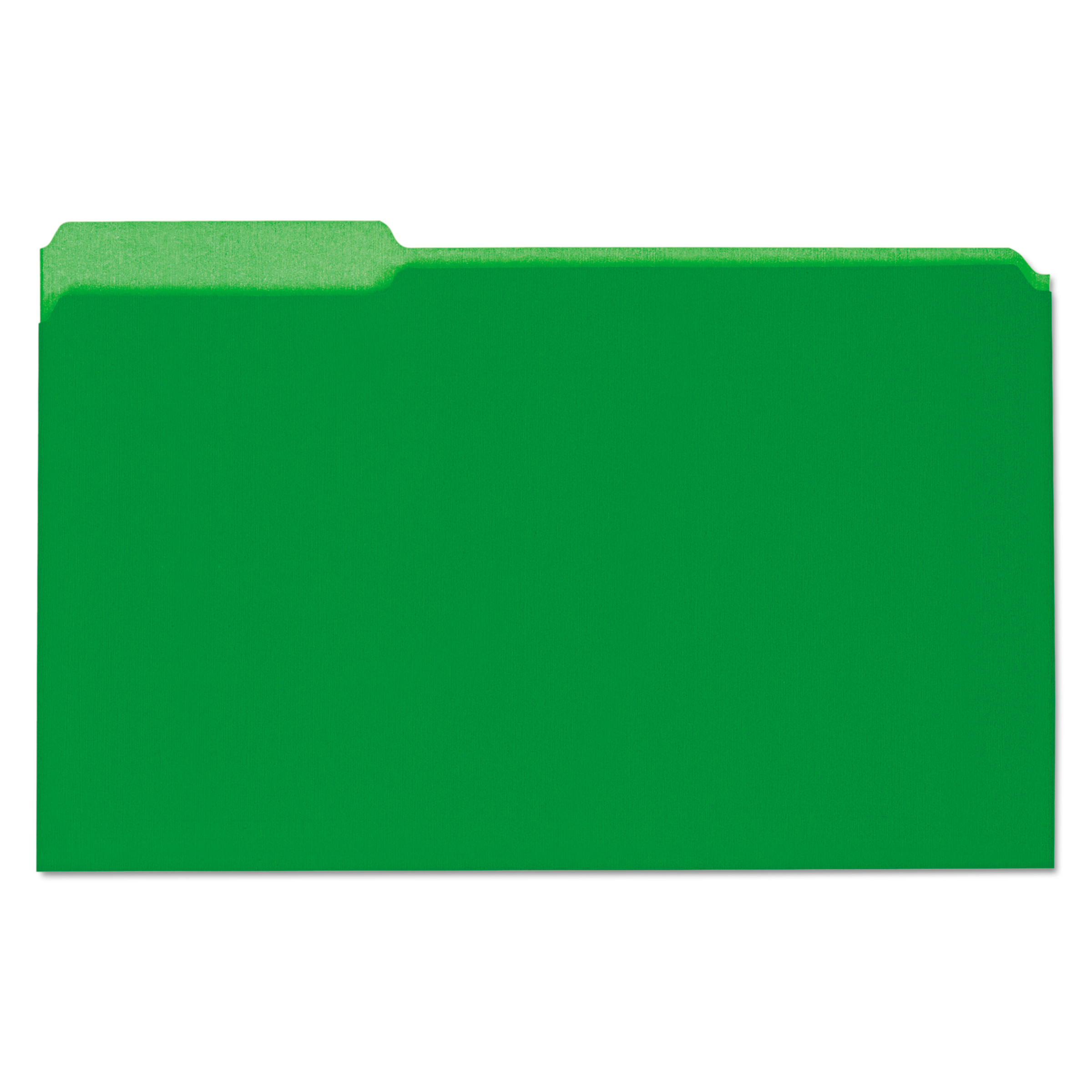 Universal Recycled Interior File Folders, 1/3 Cut Top Tab, Legal, Green, 100/Box -UNV15302