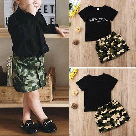Fashion Newborn Kid Baby Girl Top T-shirt Camouflage Skirt Mini Dress Clothes - Camo Baby Girl Dresses
