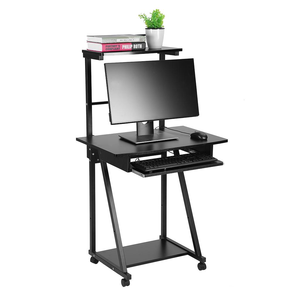 HURRISE Double-layers Household Computer Desk Laptop Table Mobile Rolling Wheel Stand Workstation, Mobile Computer Table,Computer Desk