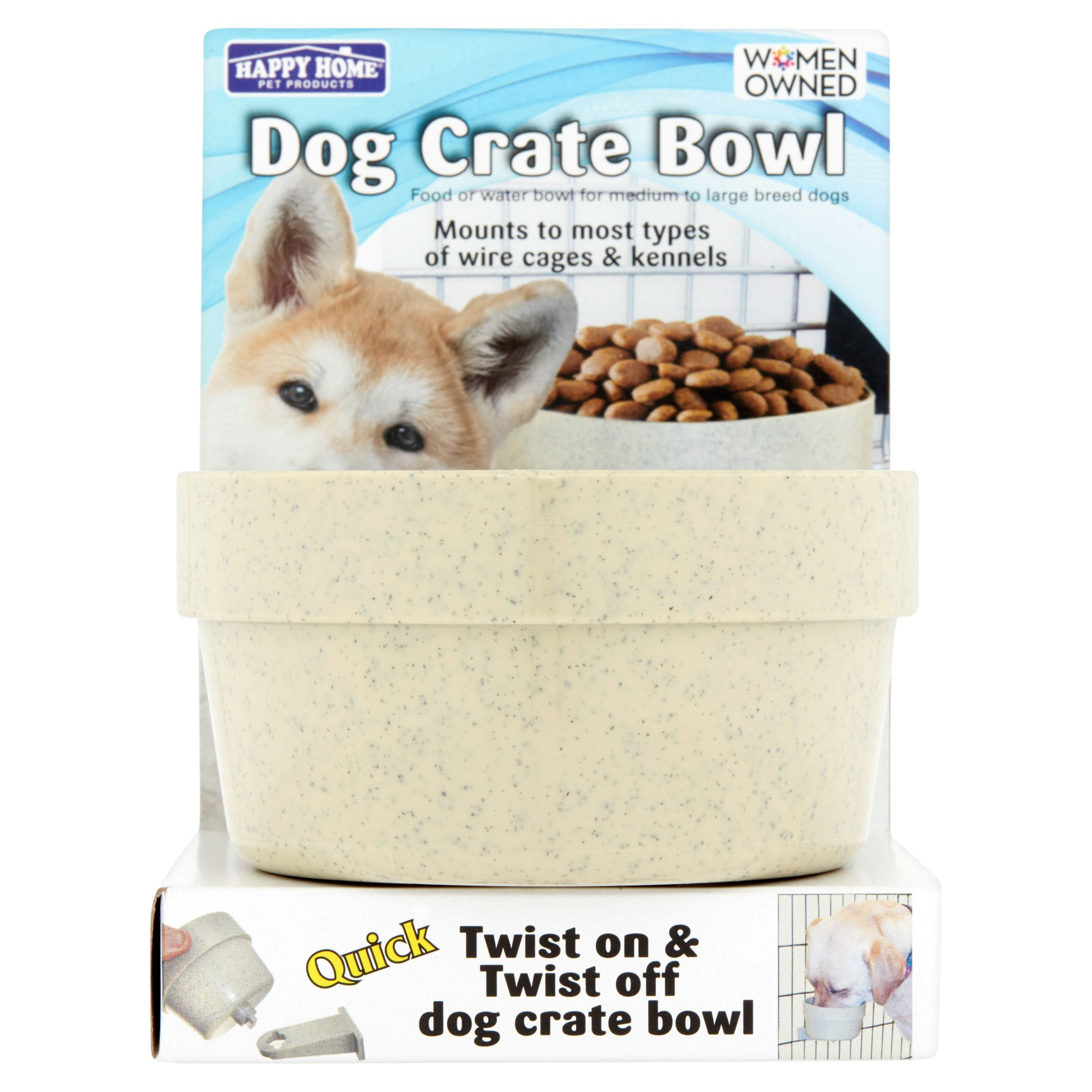 Happy Home Pet Products Dog Crate Bowl For Dogs 1ct Colors