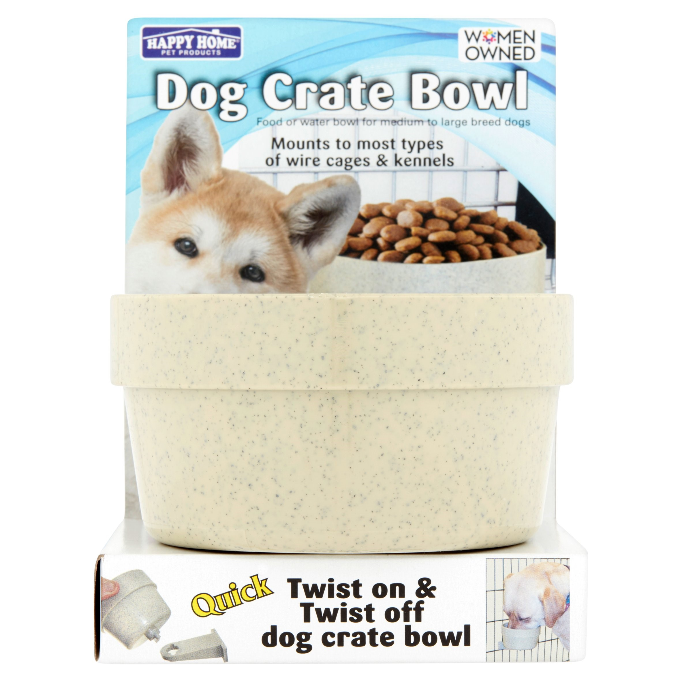 Happy Home Pet Products Dog Crate Bowl For Large Dogs, 1ct (Colors May Vary)